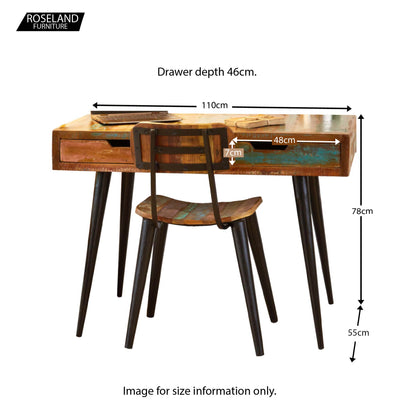 Coastal Chic Laptop Desk / Dressing Table - Size Guide