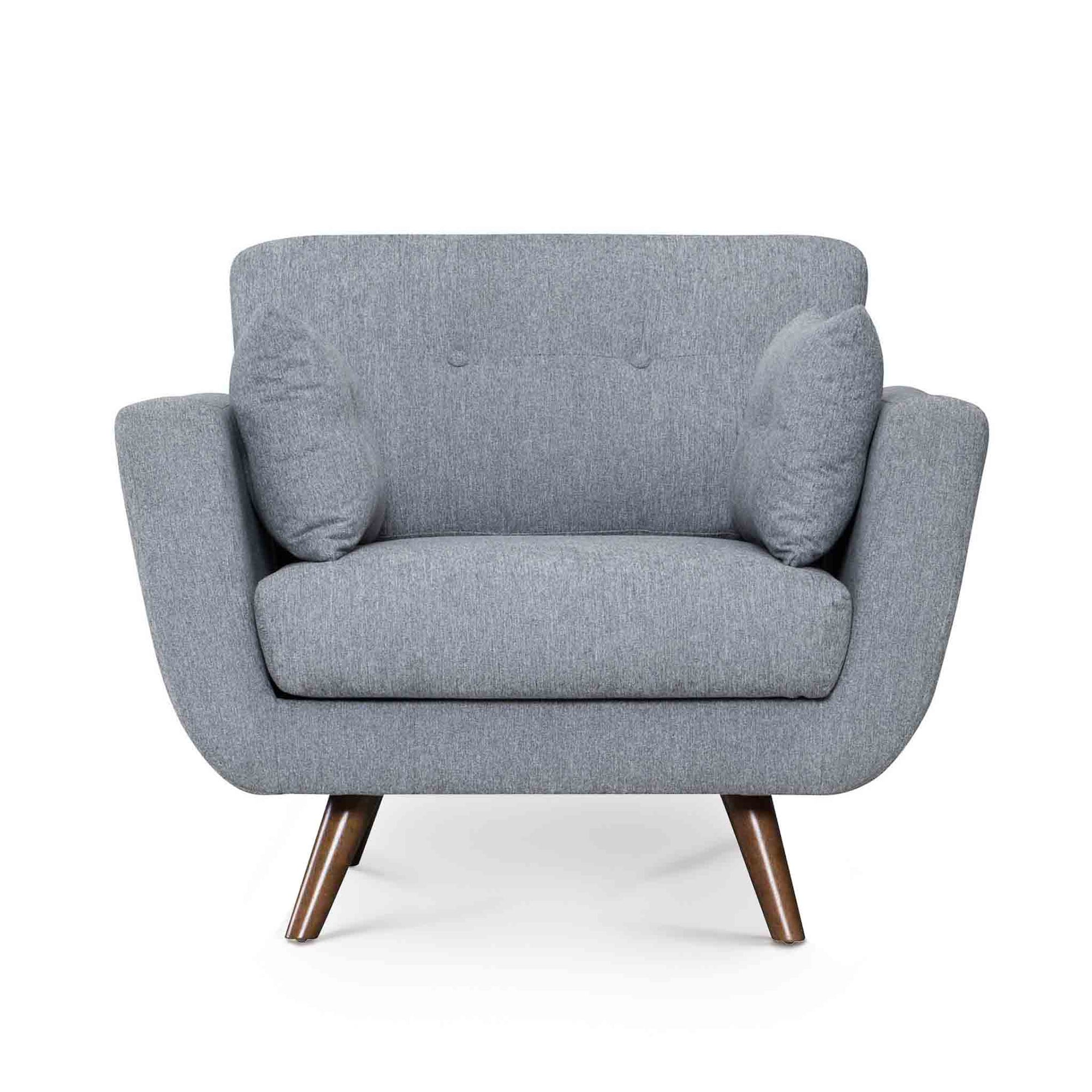 Trom Grey Scandinavian style fabric armchair by Roseland Furniture