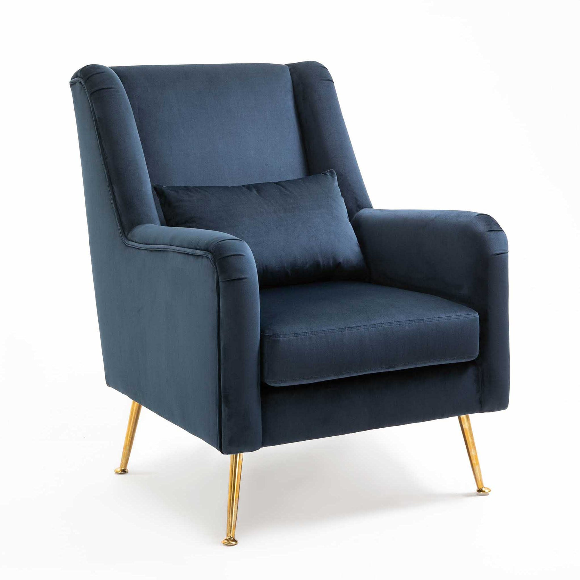 Mia Blue Velvet Wingback Armchair from Roseland Furniture