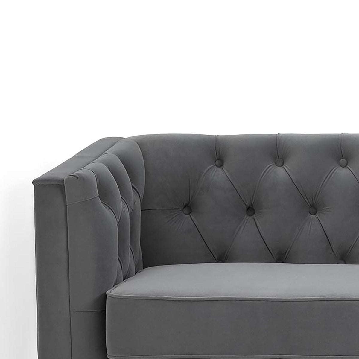 Eliza Grey 3 Seater Chesterfield Sofa - Close up of arm rest