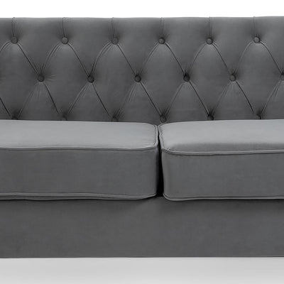 Eliza Grey 3 Seater Chesterfield Sofa - Close up of cushions and back of sofa