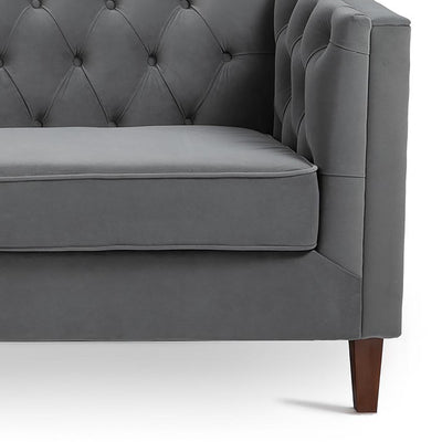 Eliza Grey 3 Seater Chesterfield Sofa - Close up of foot and buttoned back