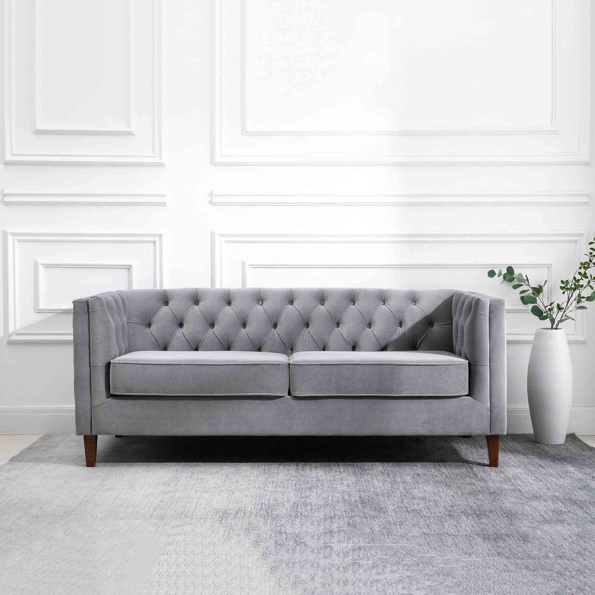 Eliza Grey 3 Seater Chesterfield Sofa - Lifestyle