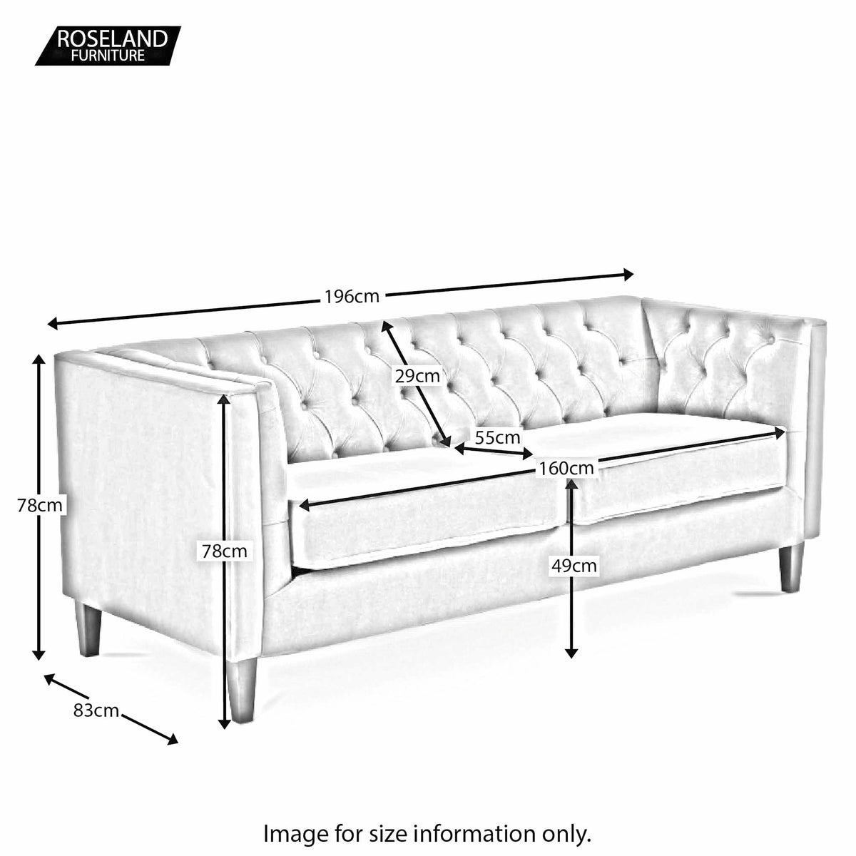 Eliza Heather 3 Seater Chesterfield Sofa - Size guide