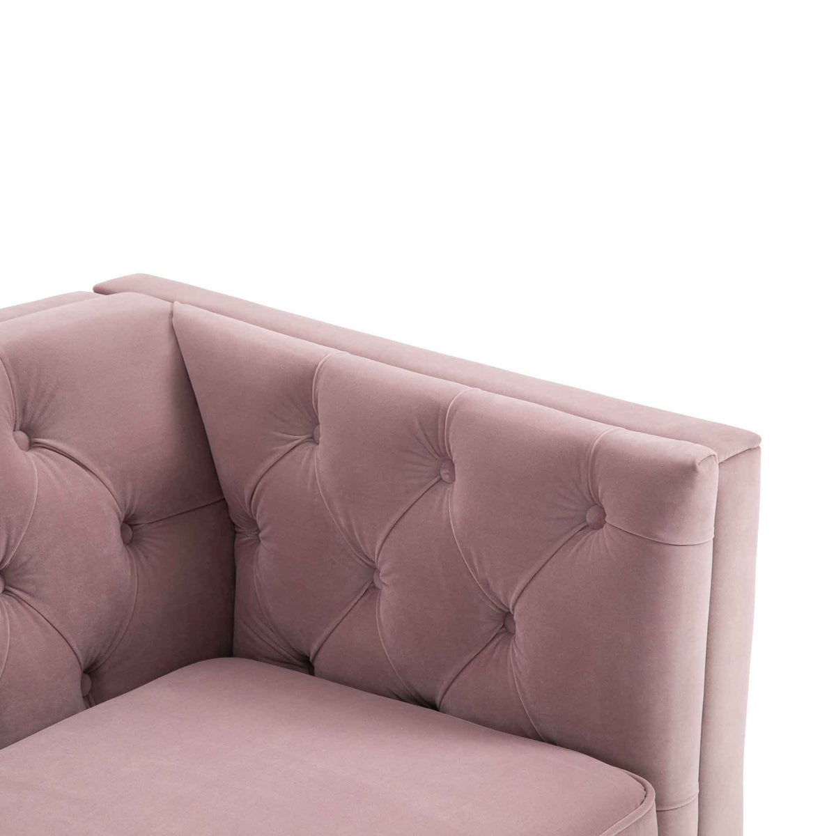 Eliza Heather 3 Seater Chesterfield Sofa - Close up of arm rest and cushion