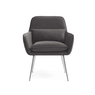 front view of the Diamond Grey Velvet Accent Chair