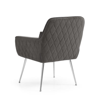 Diamond stitched back fabric on the Diamond Grey Velvet Accent Chair