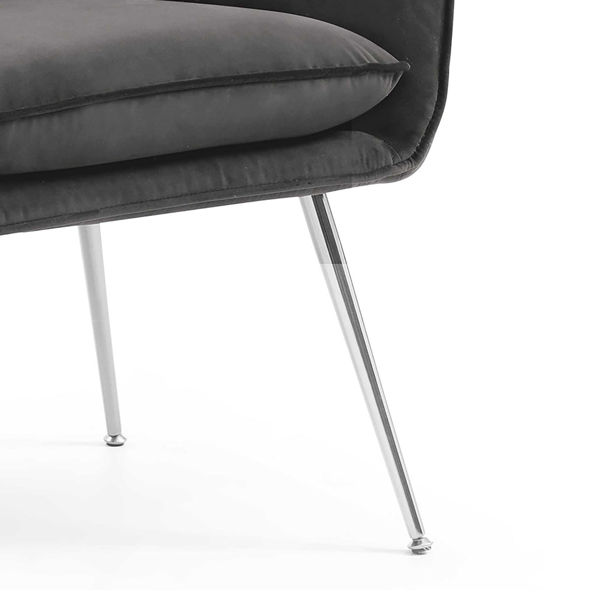 close up of the slim metal legs on the Diamond Grey Velvet Accent Chair