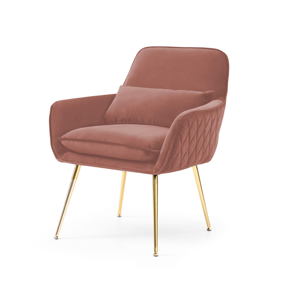 Diamond Blush Velvet Accent Chair with gold legs