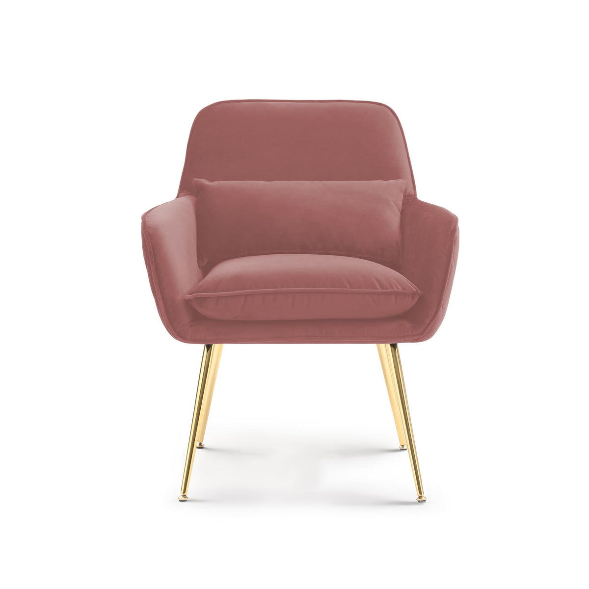 front view of the Diamond Blush Velvet Accent Chair