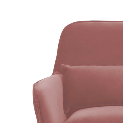close up of the Diamond Blush Velvet Accent Chair plush upholstered cushions