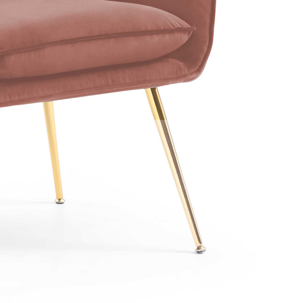close up of gold legs on the Diamond Blush Velvet Accent Chair