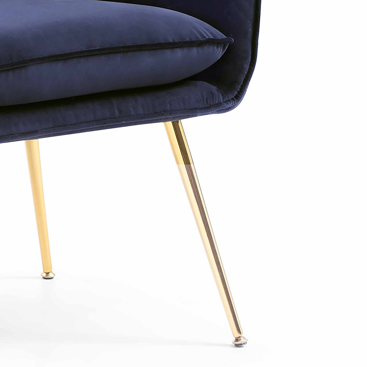 close up of gold legs on the Diamond Ink Blue Velvet Accent Chair