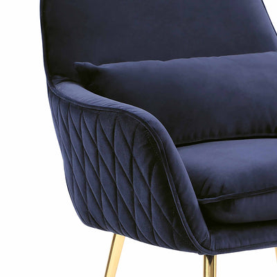 close up of the diamond stitched arm fabric on the Diamond Ink Blue Velvet Accent Chair