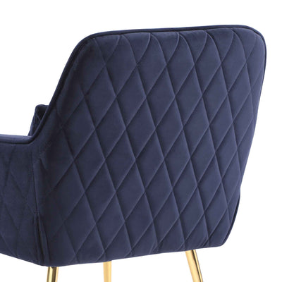 close up of the diamond stitched back fabric on the Diamond Ink Blue Velvet Accent Chair