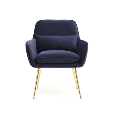 front view of the Diamond Ink Blue Velvet Accent Chair