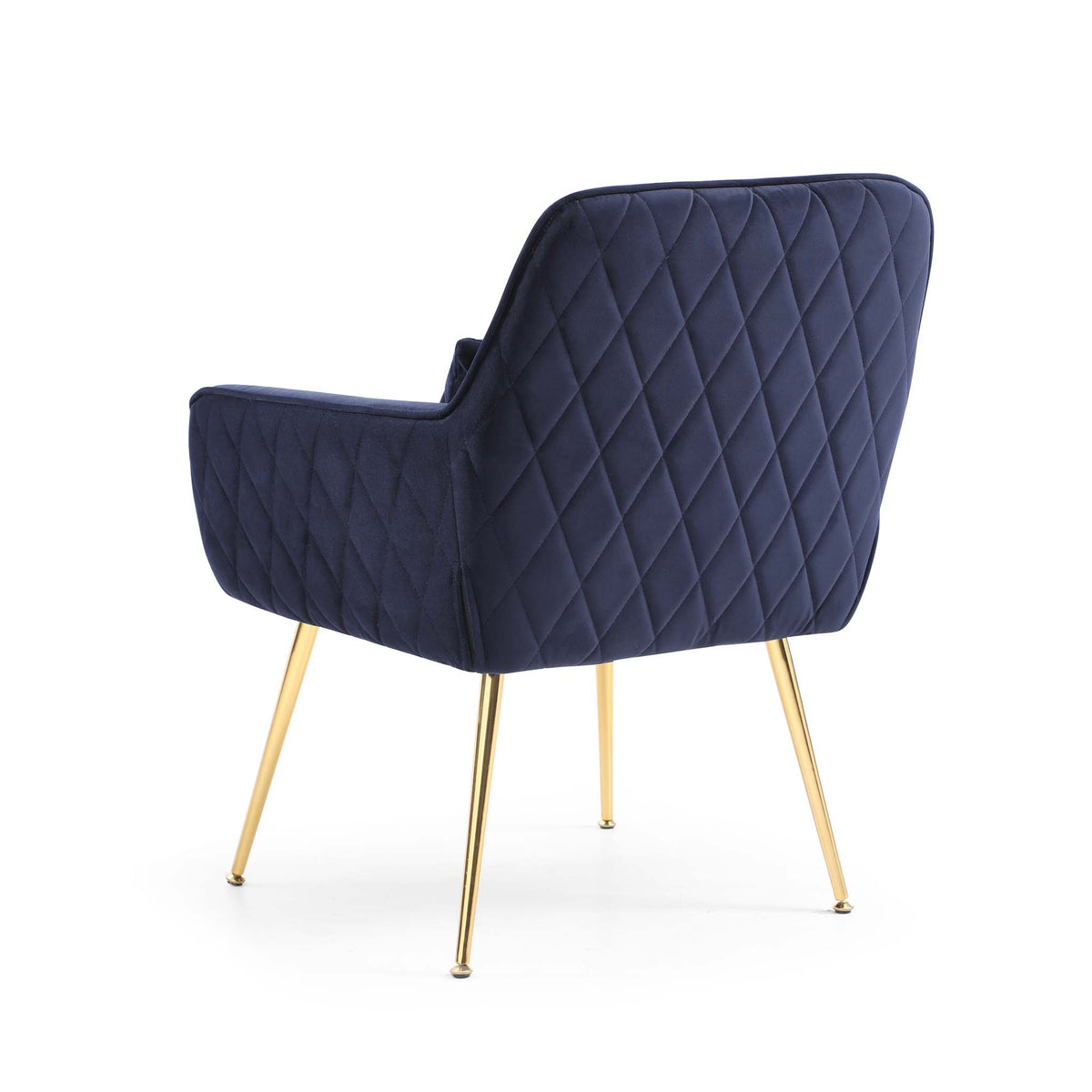 back view of the Diamond Ink Blue Velvet Accent Chair