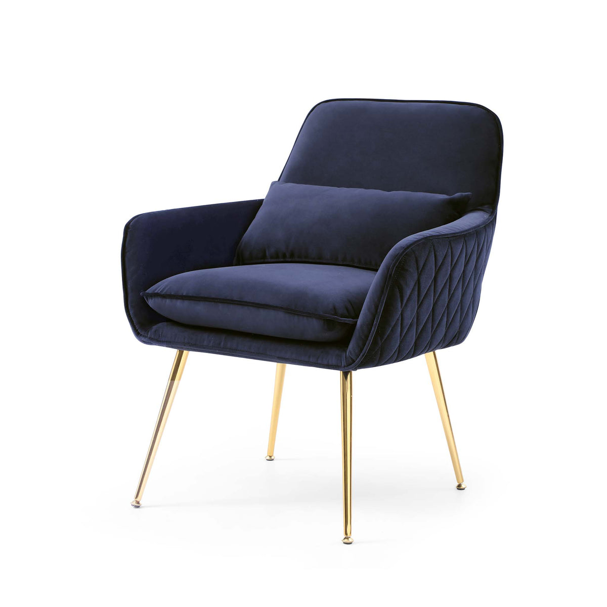 Diamond Ink Blue Velvet Accent Chair with gold legs