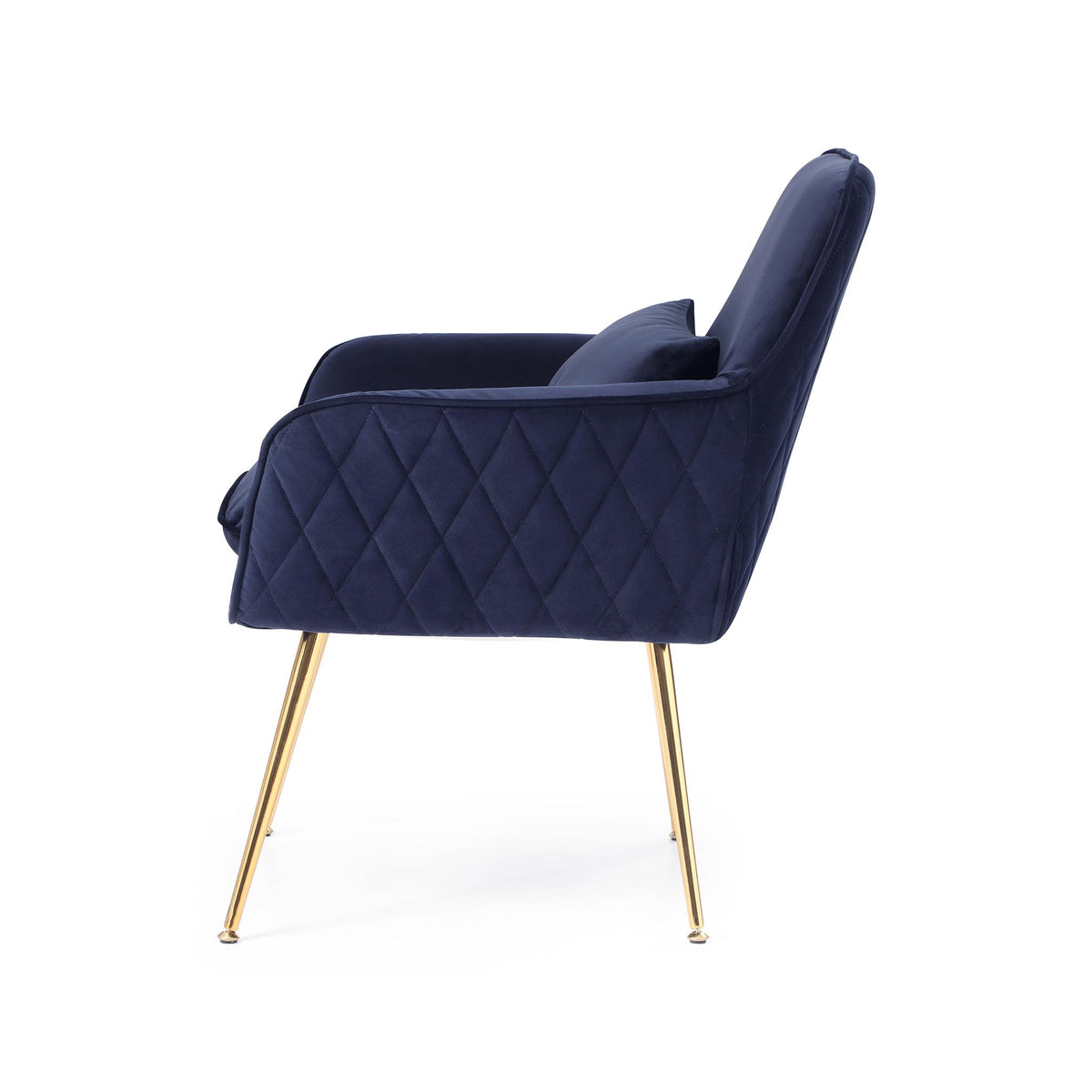 side view of the Diamond Ink Blue Velvet Accent Chair