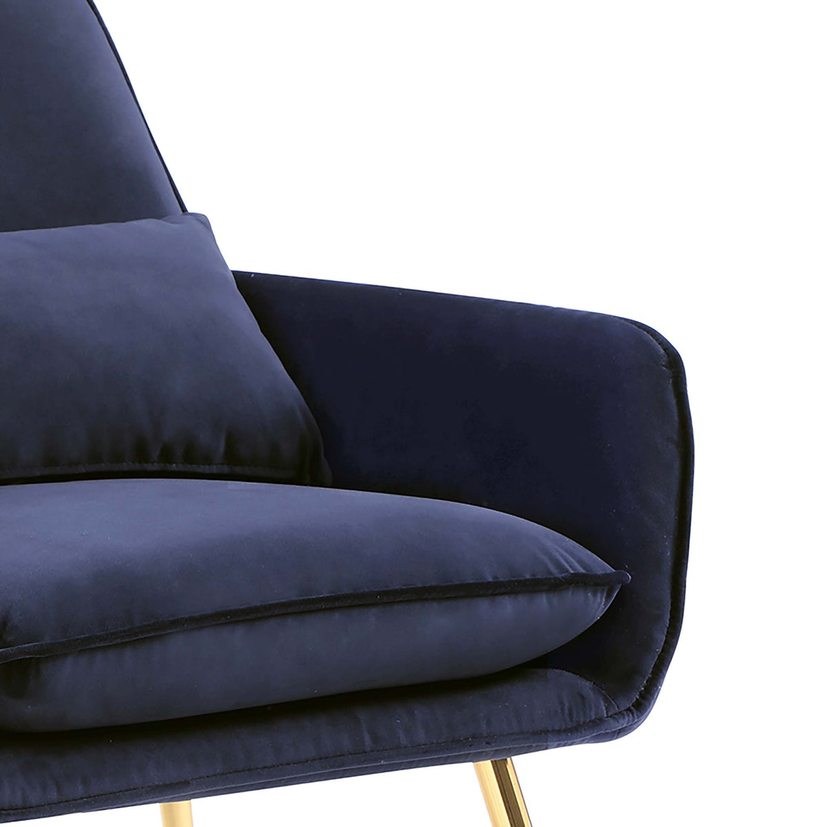 close up of the plush upholstered padded fabric on the Diamond Ink Blue Velvet Accent Chair