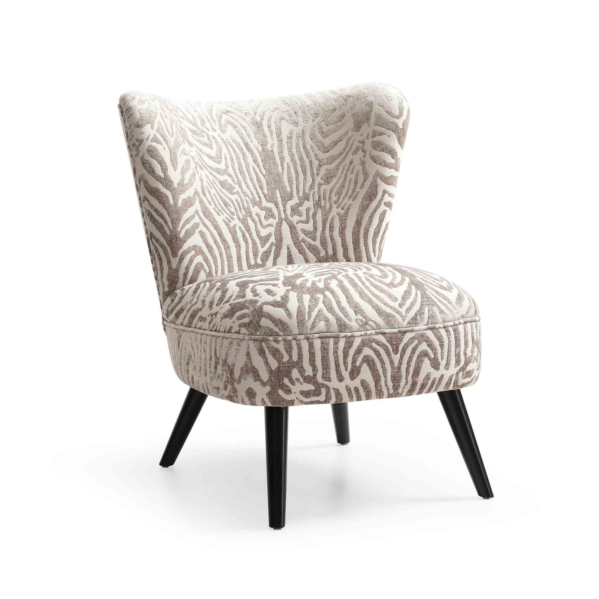 Zebra silver print accent chair from Roseland Furniture