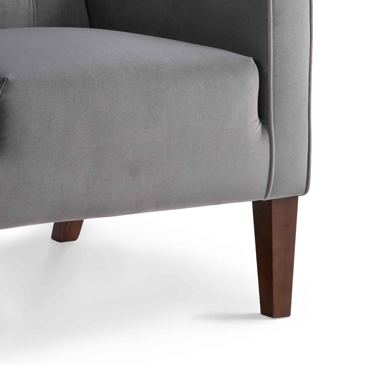 Eliza Grey Chesterfield Arm Chair - Close up of legs