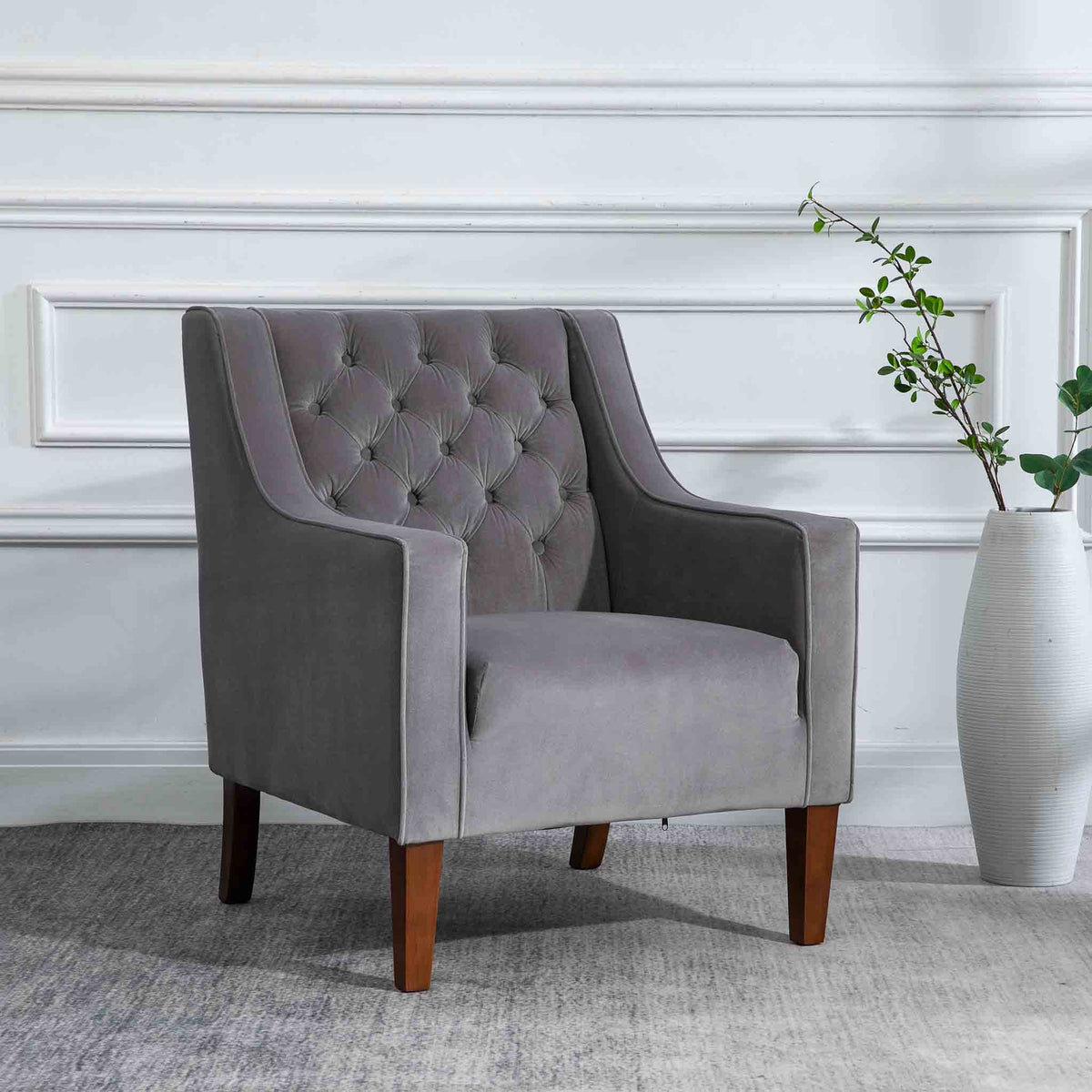 Eliza Grey Chesterfield Arm Chair - Lifestyle