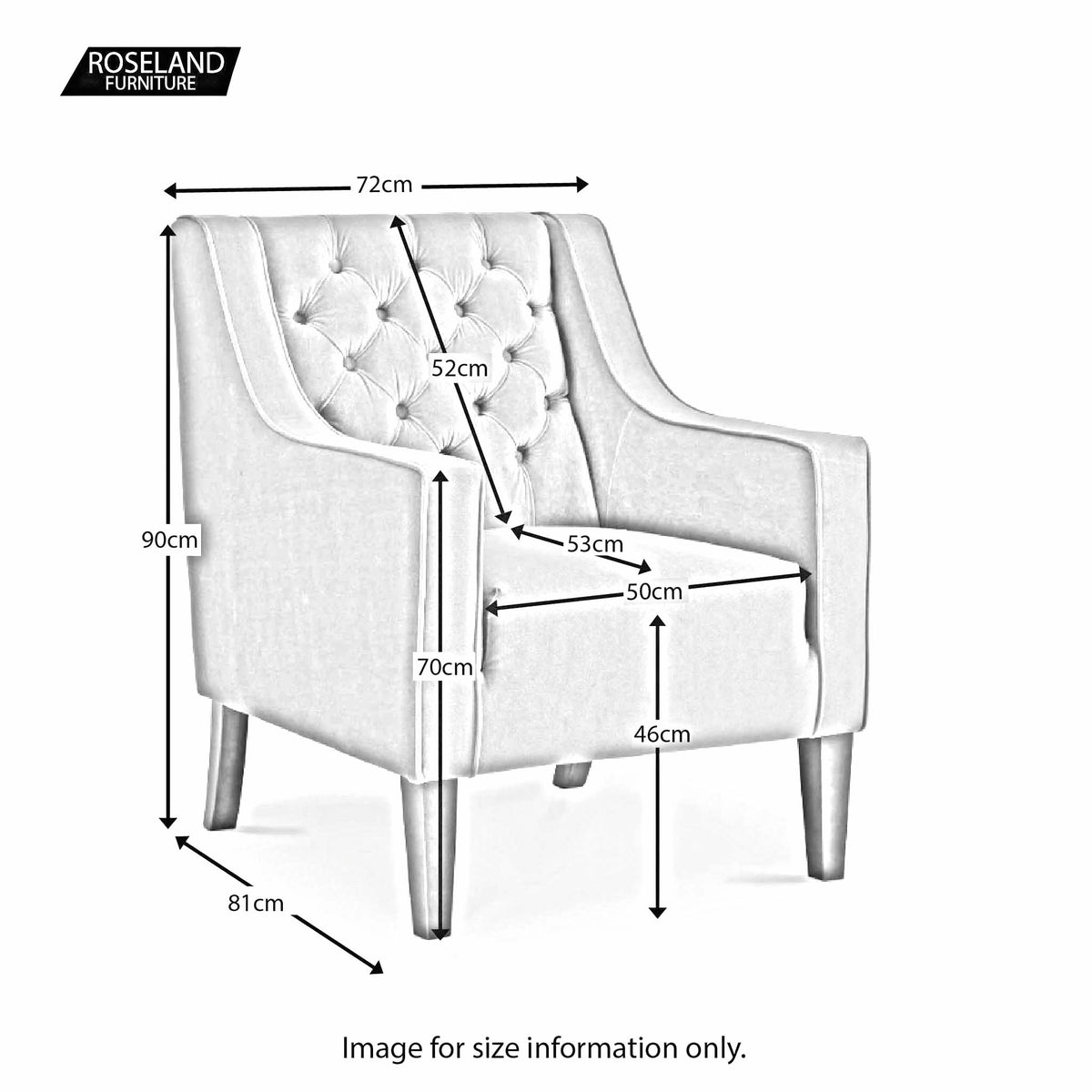 Eliza Grey Chesterfield Arm Chair - Size Guide