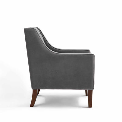 Eliza Grey Chesterfield Arm Chair - Side on view