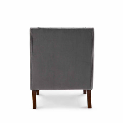 Eliza Grey Chesterfield Arm Chair - Back view