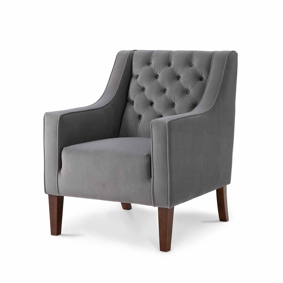 Eliza Grey Chesterfield Arm Chair - Side view