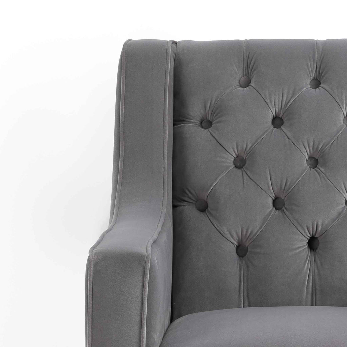 Eliza Grey Chesterfield Arm Chair - Close up of buttoned back