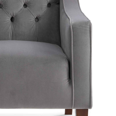Eliza Grey Chesterfield Arm Chair - Close up of arm and seating
