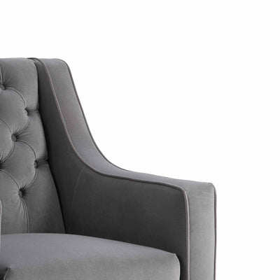 Eliza Grey Chesterfield Arm Chair  - Close up of shape of armrest