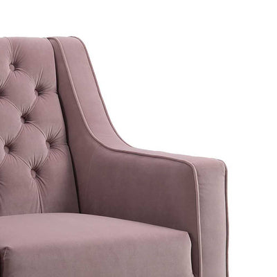 Eliza Heather Chesterfield Arm Chair - Close up of shape of armrest