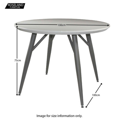 Dimensions for the Loma High Gloss Dining Tabe