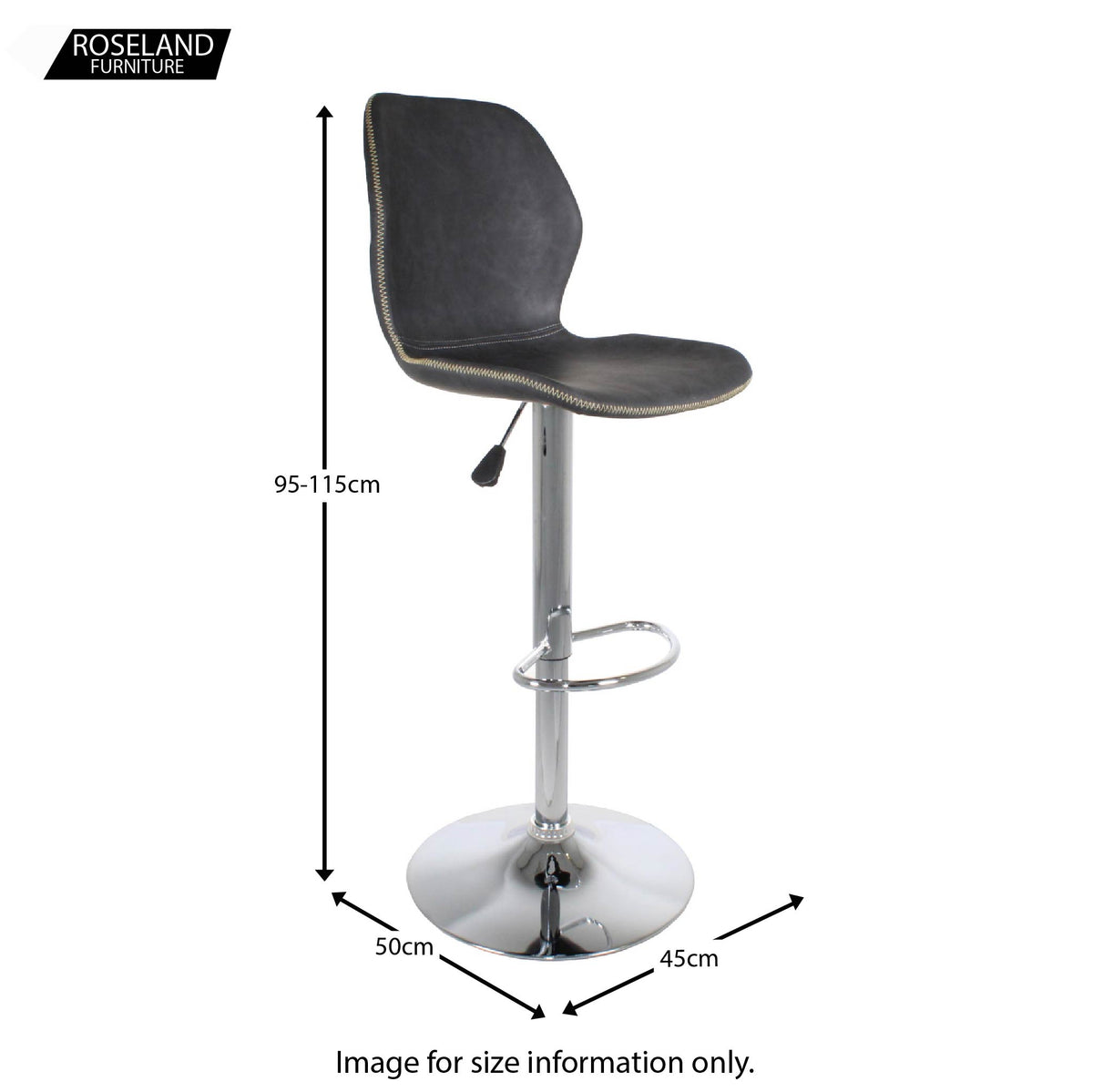 Dimensions - Denver Bar Stool stone grey