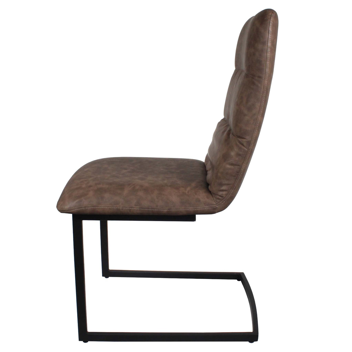 Side view of the Coffee Maitland Faux Leather Dining Chairs by Roseland Furniture