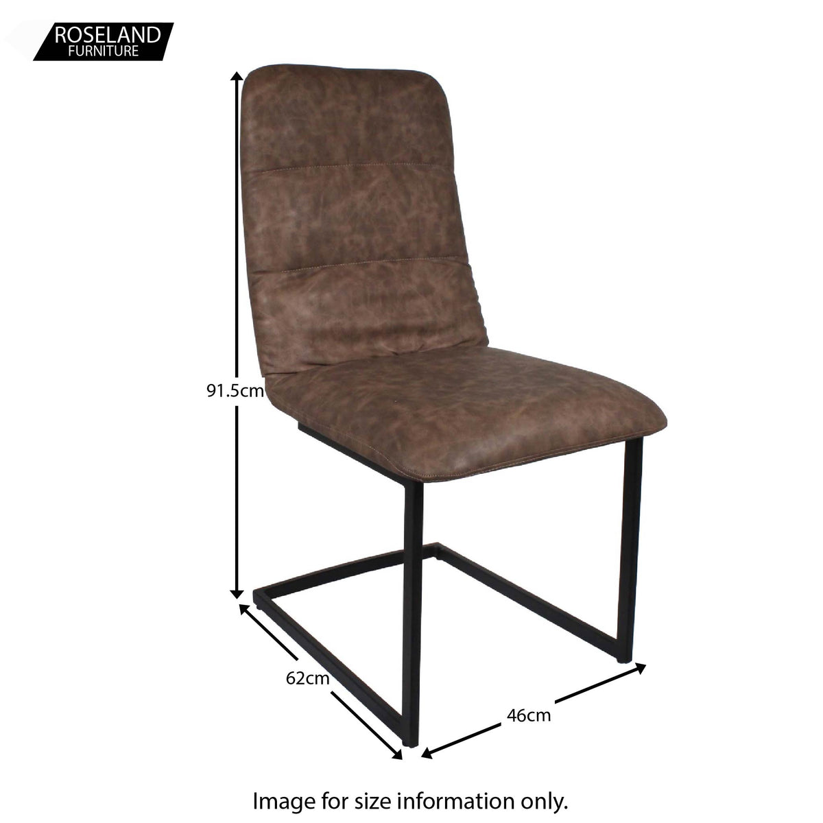 Dimensions for the Coffee Maitland Faux Leather Dining Chairs by Roseland Furniture