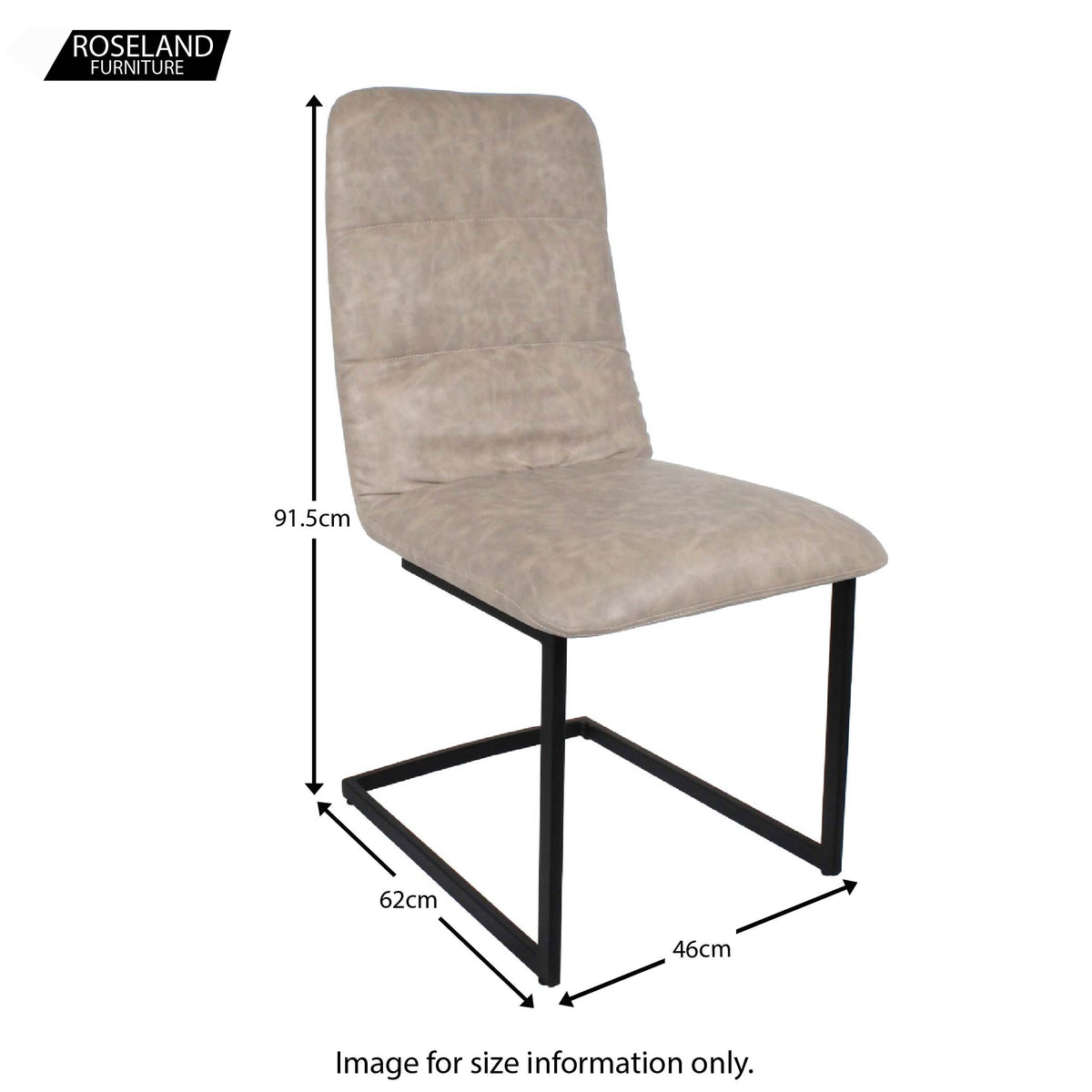 Dimensions for Mottled Elk Maitland Faux Leather Dining Chair by Roseland Furniture