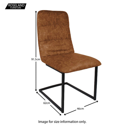 Dimensions for Cloudy Tan Maitland Faux Leather Dining Chair by Roseland Furniture