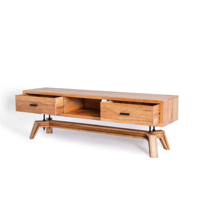 Freya Acacia 170cm TV Stand - Side View with drawers open