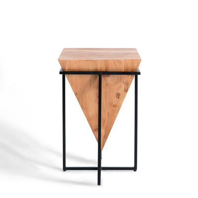 Freya Acacia Large Cube Lamp Table - Side view