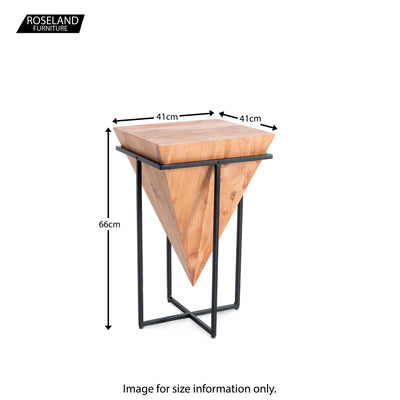 Freya Acacia Large Cube Lamp Table - Size Guide