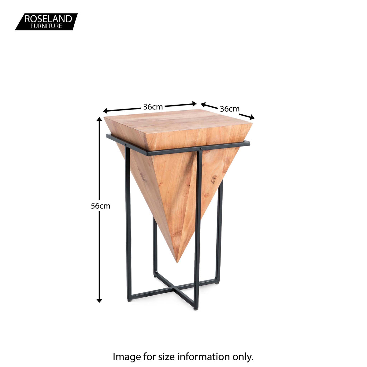 Freya Acacia Medium Cube Lamp Table - Size Guide