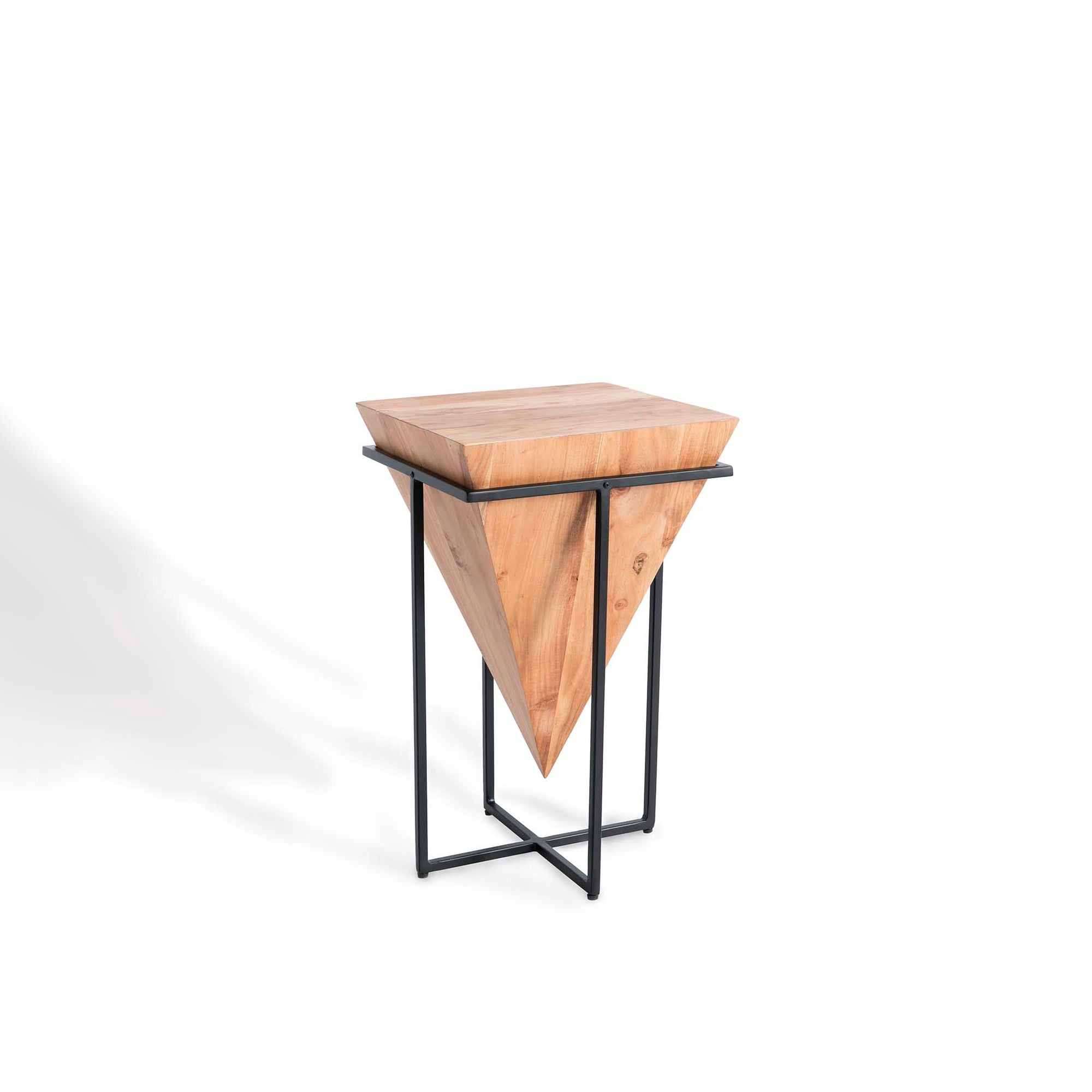 Freya Acacia Small Cube Lamp Table by Roseland Furniture