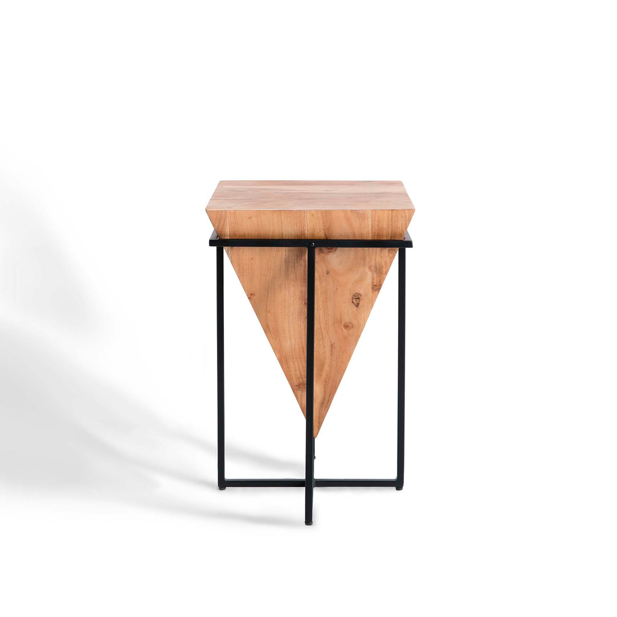 Freya Acacia Small Cube Lamp Table - Side view