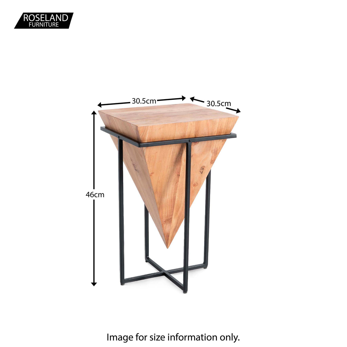 Freya Acacia Small Cube Lamp Table - Size Guide