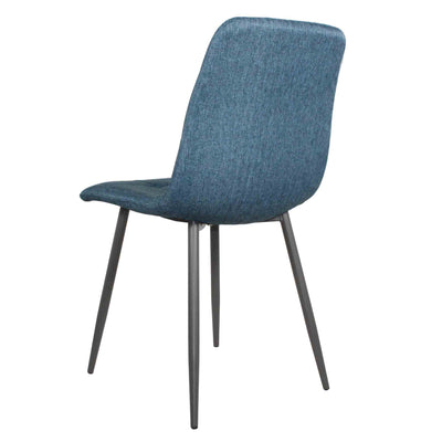 Back view of Olivia Blue Faux Leather Padded Dining Chairs