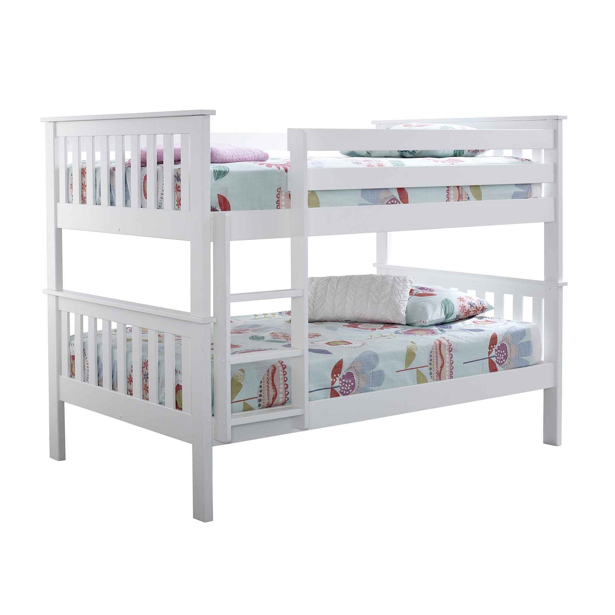 Large Quadruple White Contemporary Bunk Bed Detachable 4ft Small Double Slatted Wooden Beds For Kids Or Adults Roseland Furniture